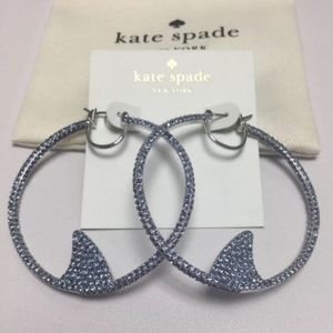 New Kate Spade Silver and Blue Pave Shark Earrings